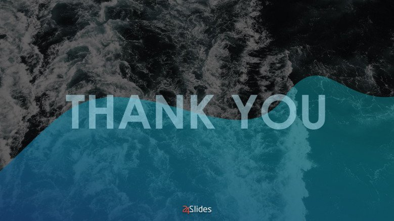 Creative Thank You Slide in blue with a wave background image