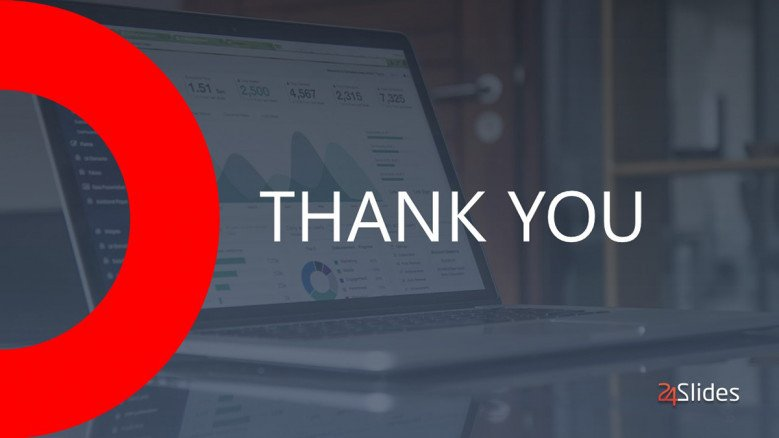 Grey Thank You Slide with red semicircle