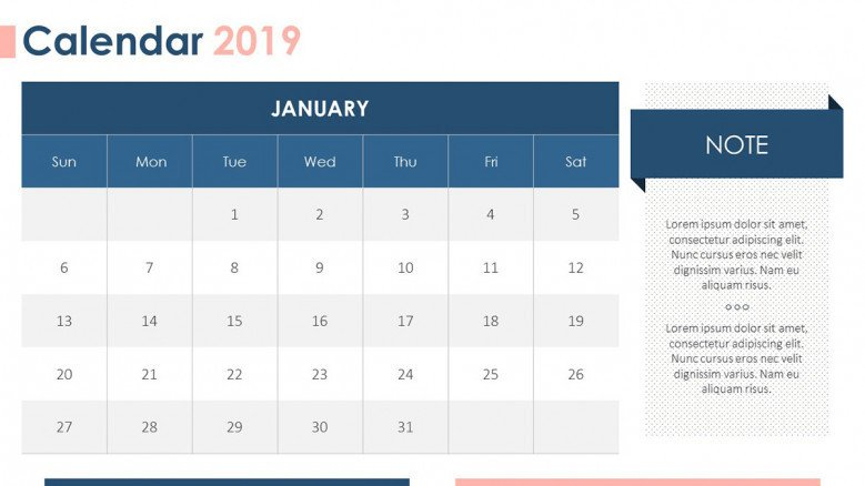2019 calendar january with description box