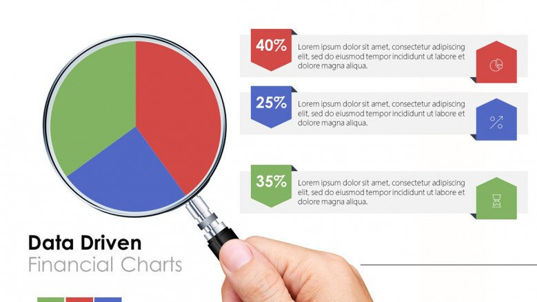 Creative data driven financial pie chart with data information in text