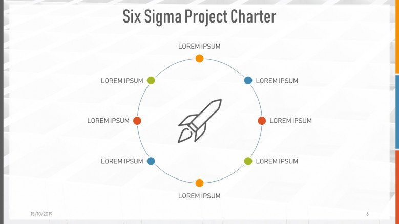 Process diagram of eight steps for a Six Sigma Project Charter Presentation