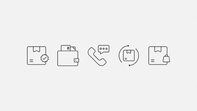 E-commerce and customer support icons