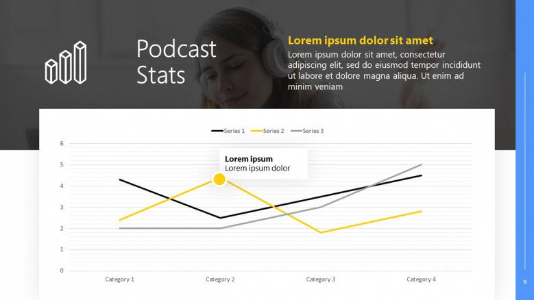 Podcast Statistics Slide with a line chart