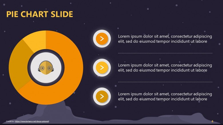 Pie chart slide with a space background