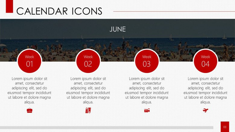 calendar with icons monthly process planner with description text