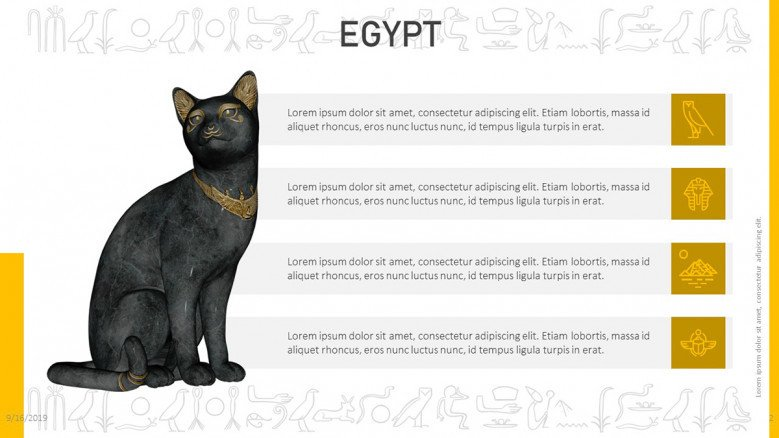 Egypt information with a cat sculpture