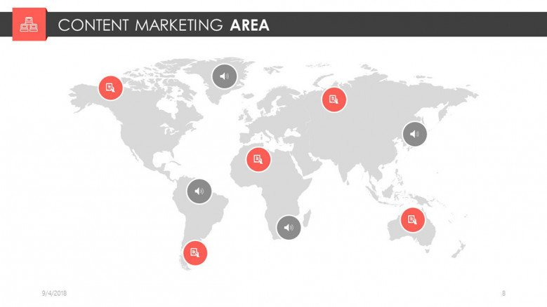 world map continent marketing area slide for digital marketing presentation