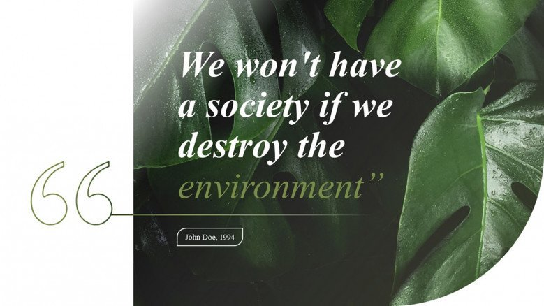 Environmental Quote Slide with a leaf as background