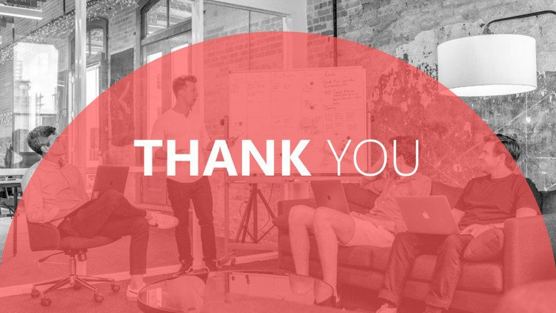 Red Thank You Slide with a black and white background image of a team planning okrs