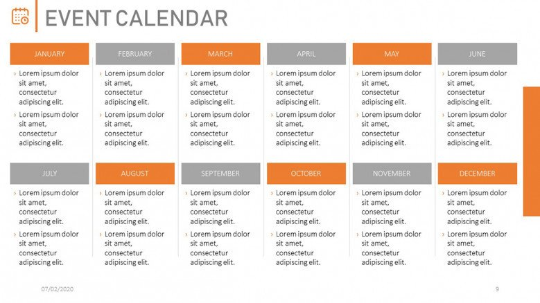 Yearly Calendar of Company Events