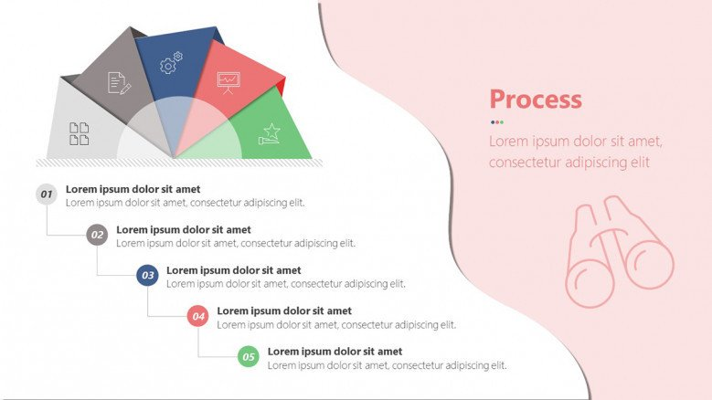 Semi-circular infographic diagram for a process of five steps.