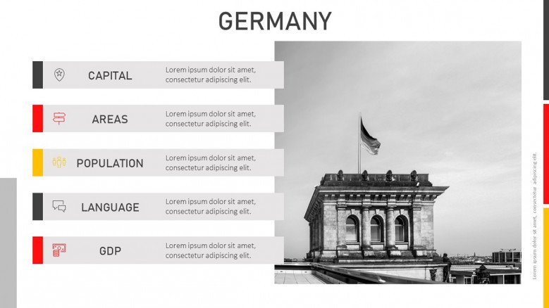 Germany General Information Slide with a black and white image of a monument