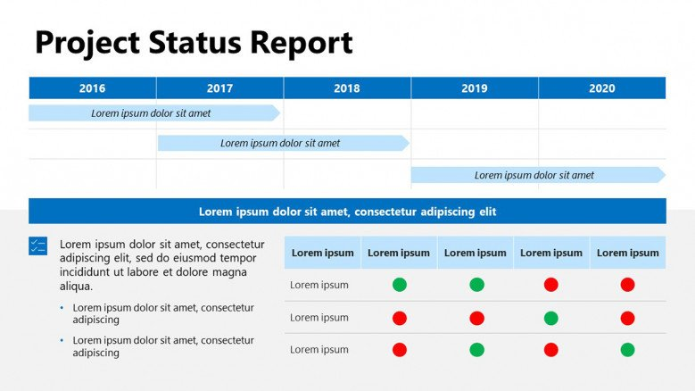 Project Status Overview in PowerPoint