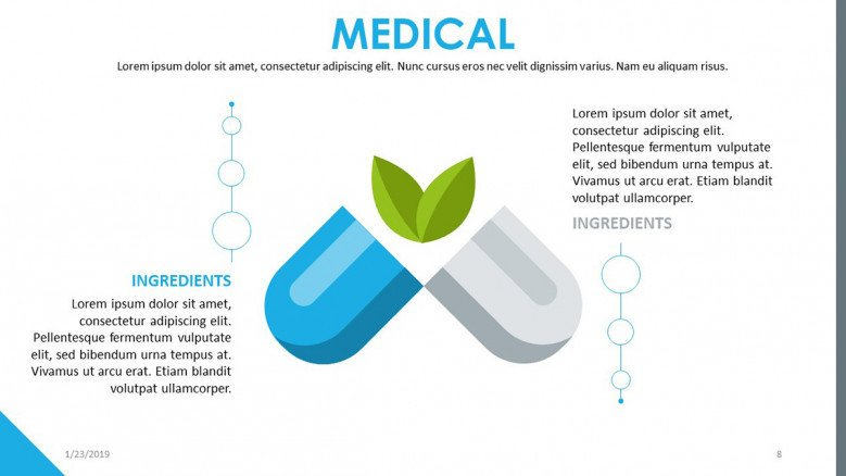 medical presentation with pill illustration and text