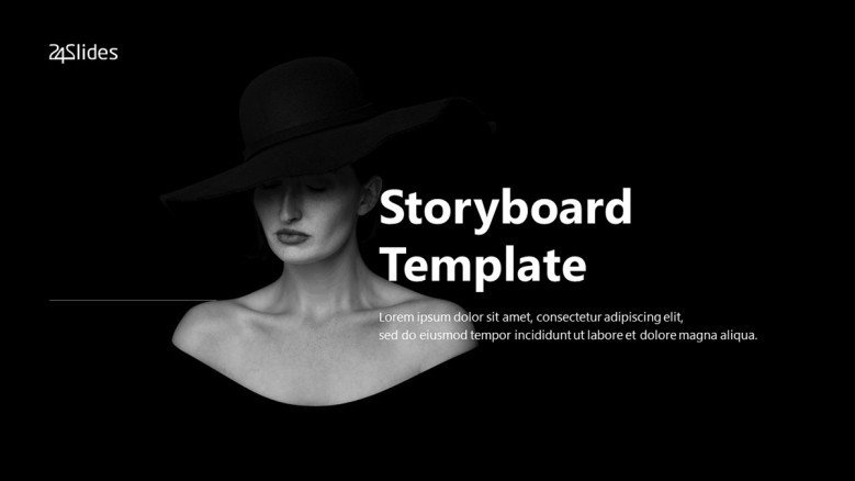 Creative Storyboard Title Slide in black and white