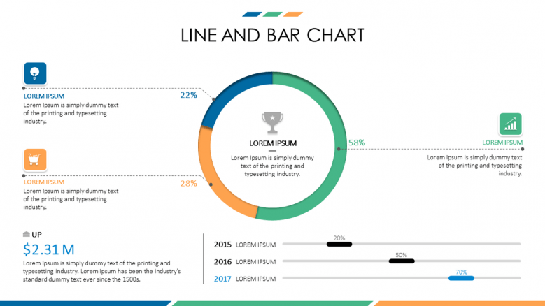 business presentation in line and bar chart