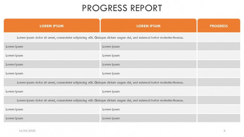 Progress Report Chart Slide