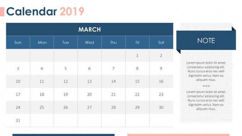 2019 calendar in March with description box