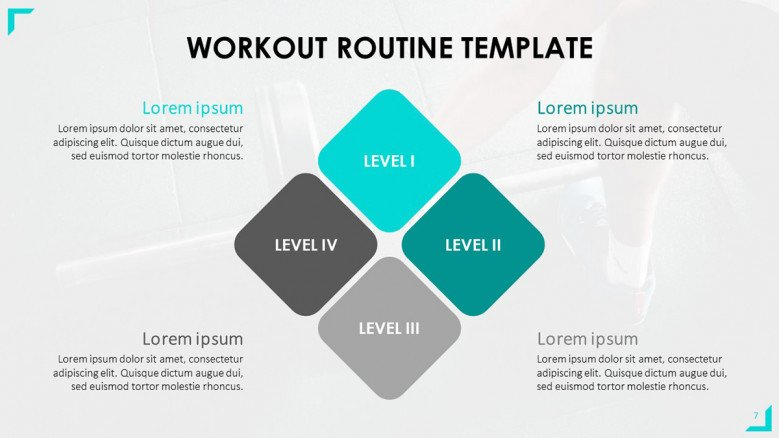 Workout Intensity Levels Slide featuring a four-step diagram