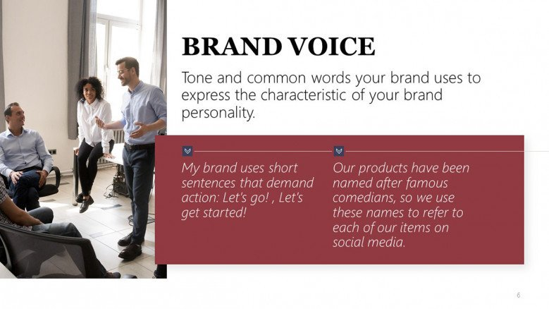 Brand Voice Slide for a Brand Style Guide Presentation