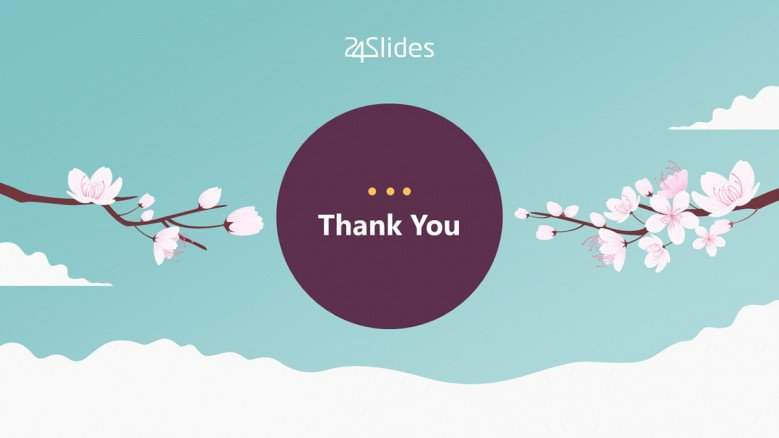 Playful Thank You Slide for a Japanese-themed presentation