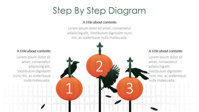 step by step diagram creative slide for halloween theme presentation