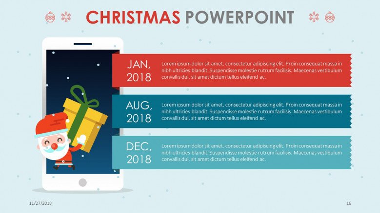 creative christmas theme agenda chart with three key points