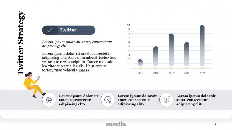 Twitter Strategy Template with column chart and playful icons