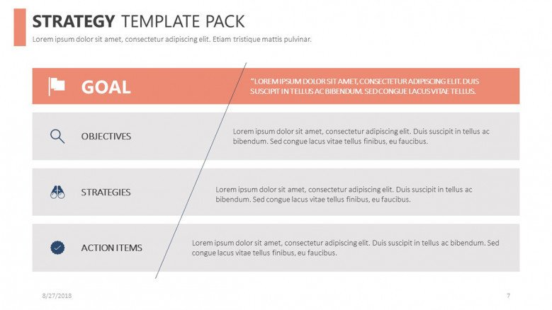 strategy template key points in table