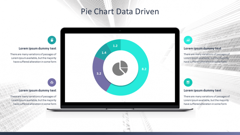 pie chart data driven slide in pc display for corporate data presentation