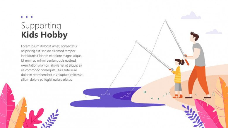 Kids Hobbies Slide with illustrations