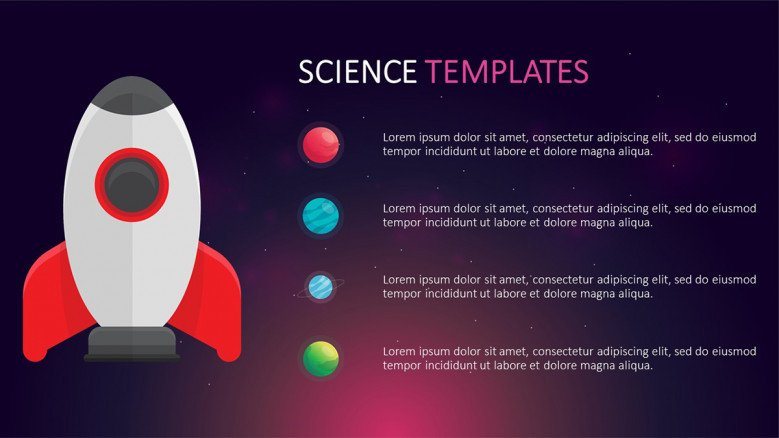 List slide with a spaceship illustration and planet icons as bullet points