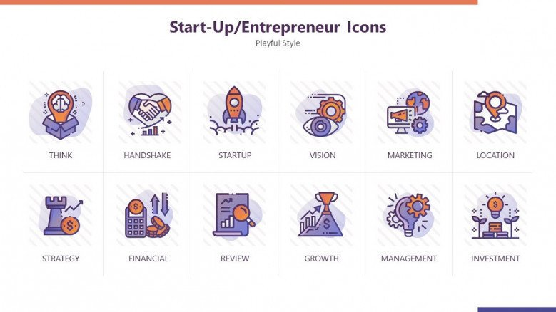 entrepreneur icons for start-up in playful purple style