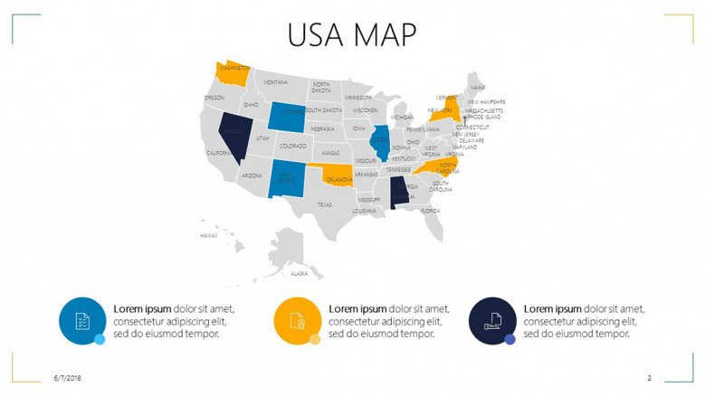 USA map slide with informative text