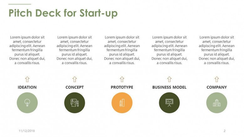 pitch deck for start up slide with five key factors