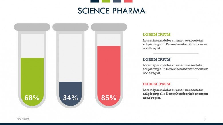 science pharma percentage graph in infographic
