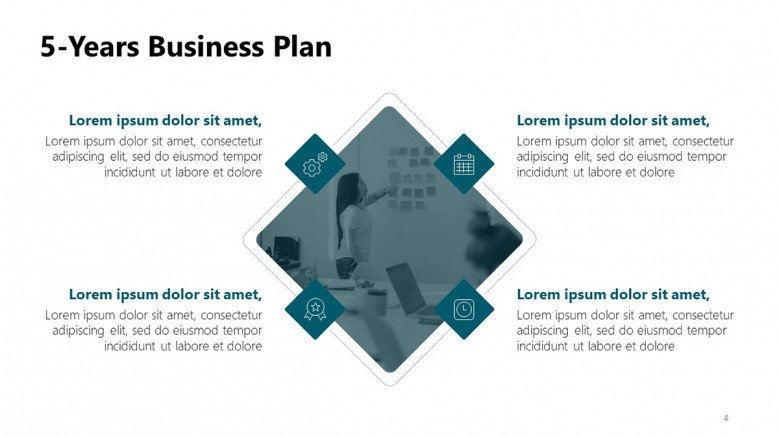 Five year business plan diagram in PowerPoint