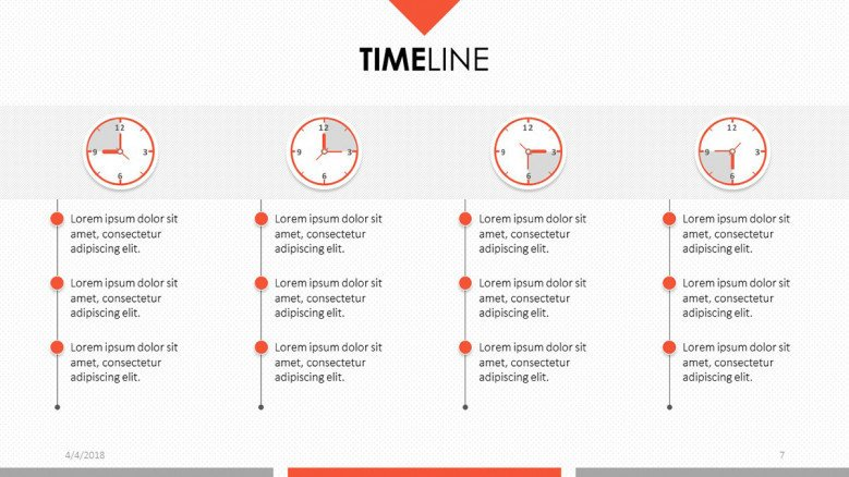 4 section text timeline with clock and time