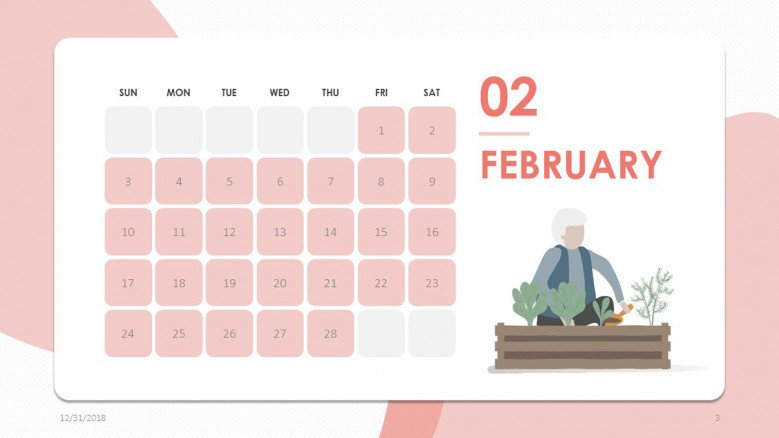 2019 calendar february in creative style with illustration