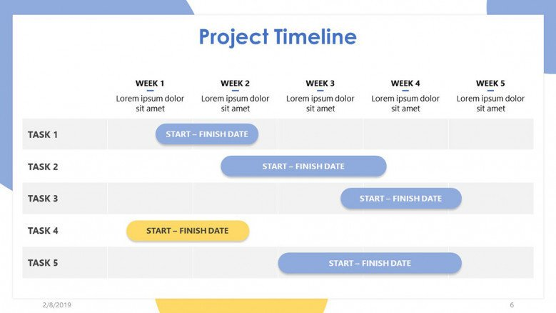 project timeline slide in gantt chart