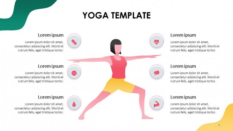 benefits of yoga with health icons and a female illustration