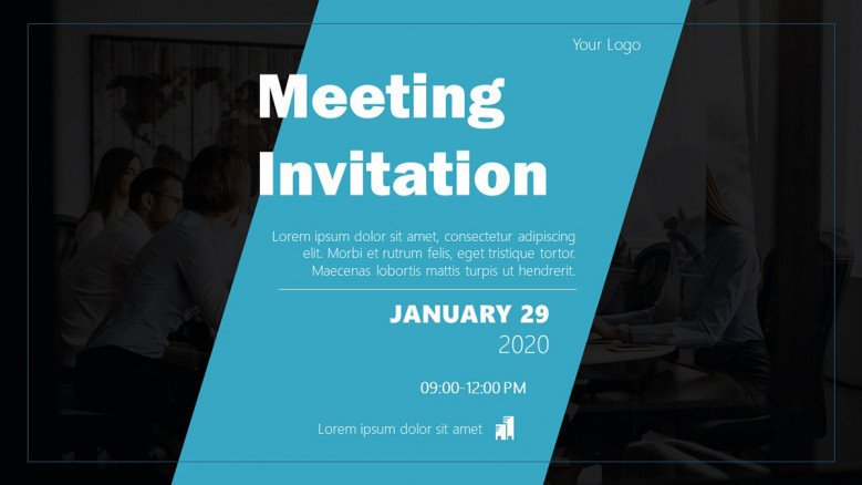 Blue and black meeting invitation