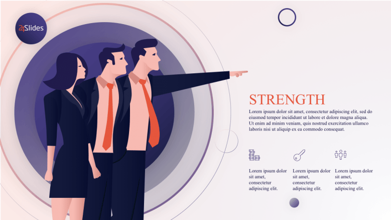 Illustration of people pointing out strengths