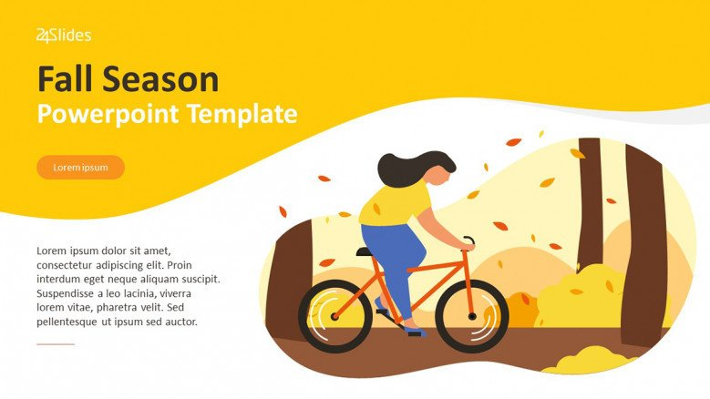 Fall Season Title Slide with illustration of a girl riding a bicycle in the forest during fall