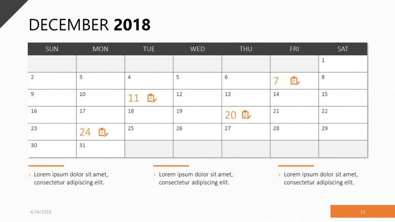 december 2018 calendar with events agenda
