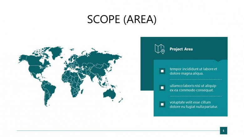 Project's scope slide with a world map graphic and blue text box