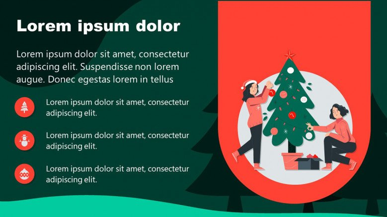 Christmas PowerPoint Slides in Red and Green