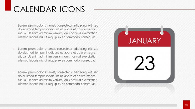 calendar icons daily overview description in text