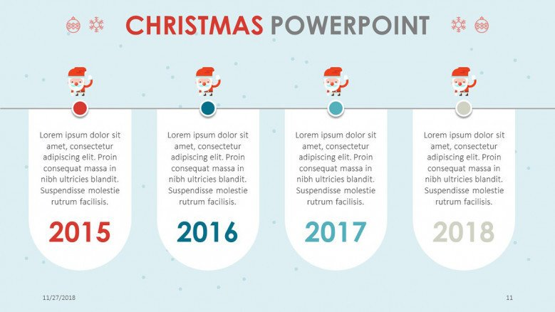 timeline slide for christmas themed presentation