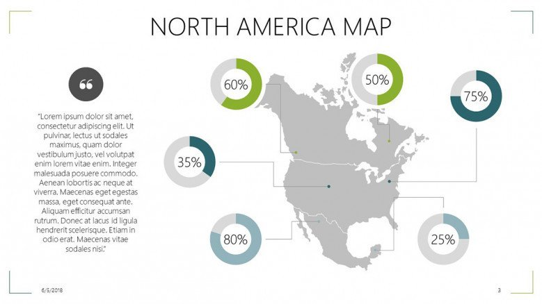 North American Map | Free PowerPoint Template